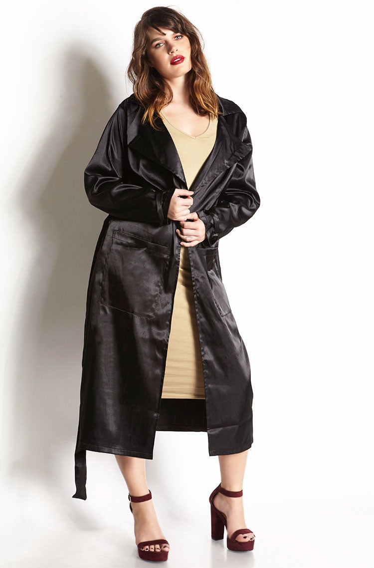 Black Satin Trench Coat plus sizes