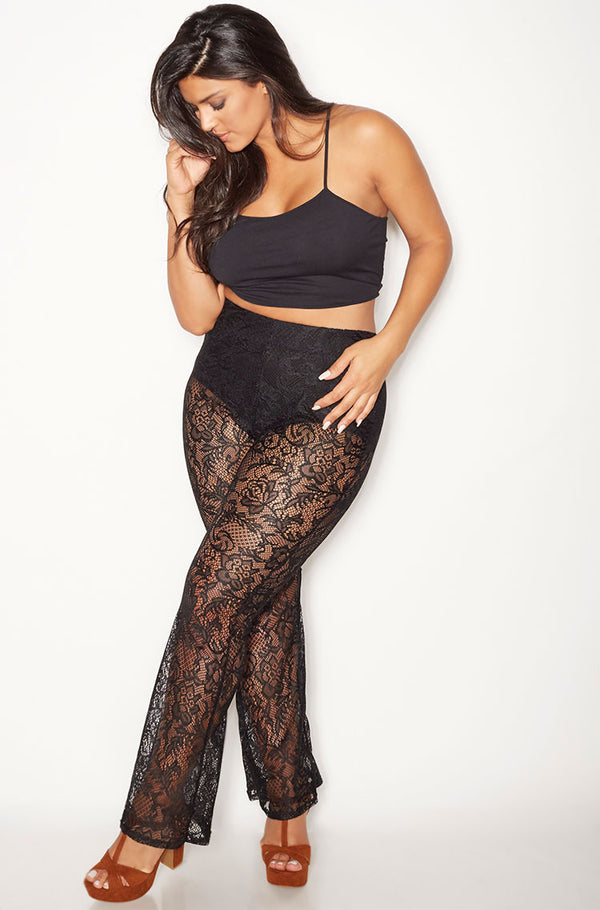 Black Laced Pants Plus Sizes