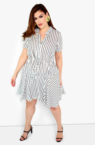 White Striped Skater Mini Dress Plus size