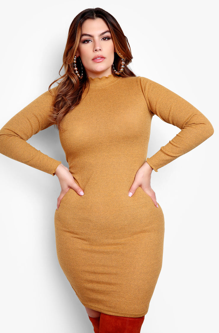 Mustard Plus Size Turtleneck Long Sleeve Mini Dress Plus Sizes