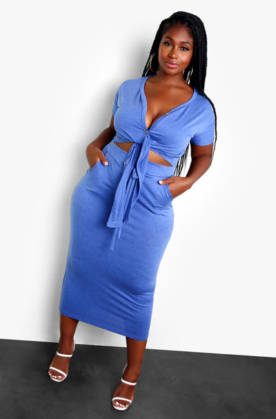 Blue Midi Skirt Plus Sizes
