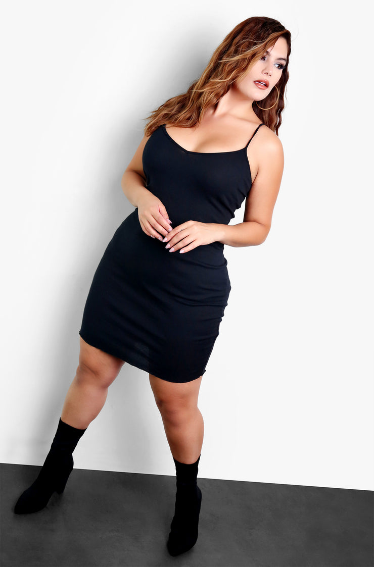 Black Plus Size Long Sleeve Cardigan & Mini Dress Set