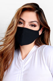 Black Face Mask with Pocket