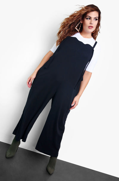 Black Overall Style Cropped Jumper Plus Sizes