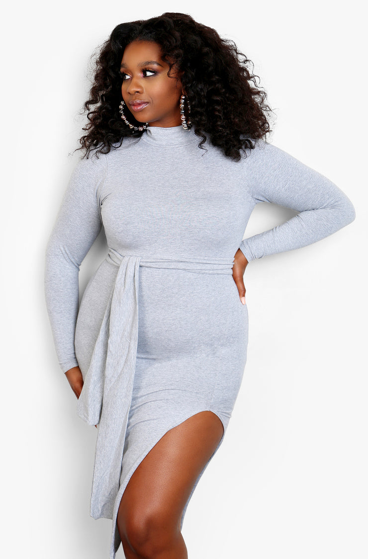 Gray Turtleneck Long Sleeve Tie Front Midi Dress with Side Slit