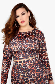 Brown Leopard Crew Neck Long Sleeve Top Plus Sizes