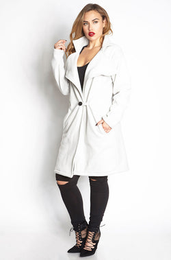 Gray Wide Collar Coat plus sizes