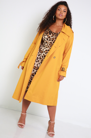 Mustard Classic Trench Coat Plus Sizes