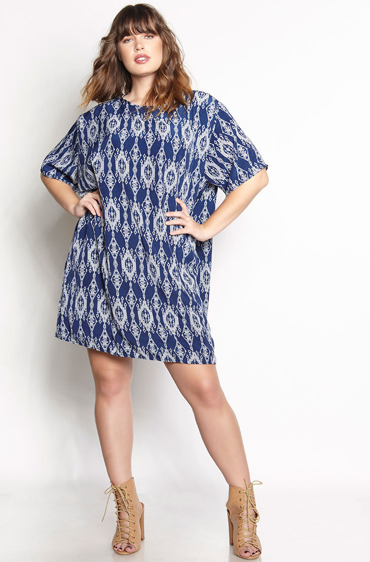 Blue Chiffon Tunic Shift Mini Dress plus sizes