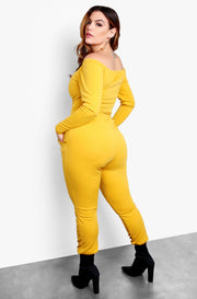 Mustard Plus Size Over The Shoulder Long Sleeve Tie Front Jumper