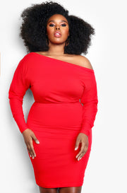Red Keyhole Cut Out Bodycon Plus Size Mini Dress