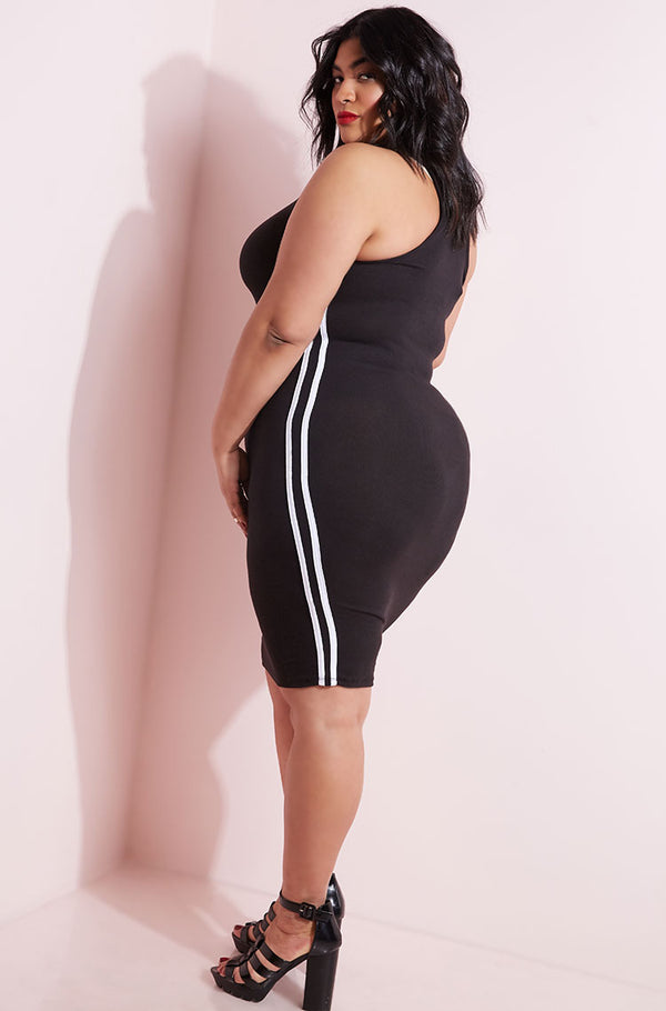 Black Racerback Bodycon Mini Dress plus sizes