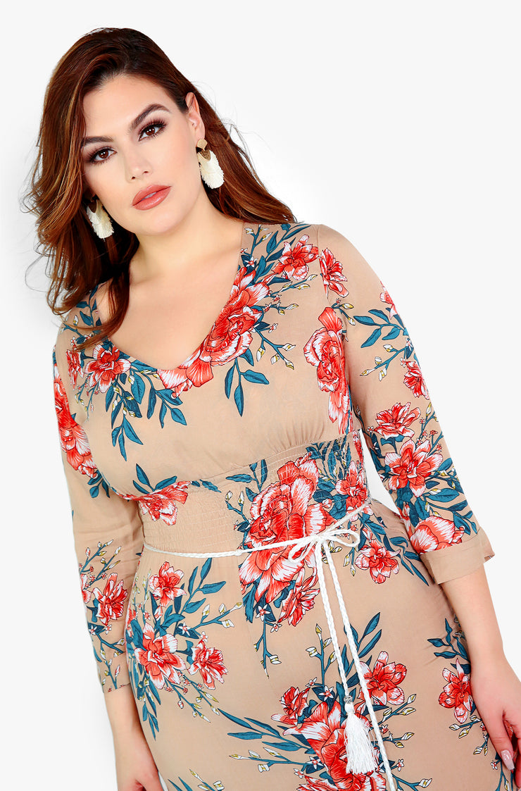Cream Front Slit Floral Maxi Dress Plus Sizes