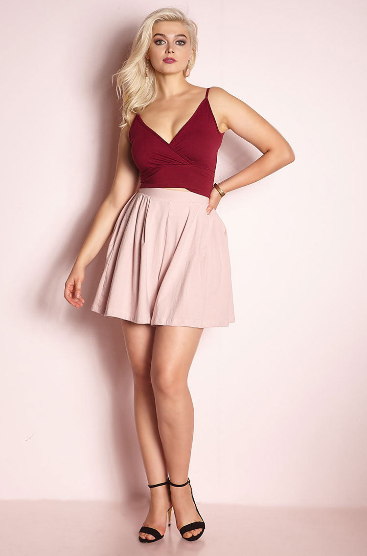Blush Pleated Shorts With Pockets Plus Sizes