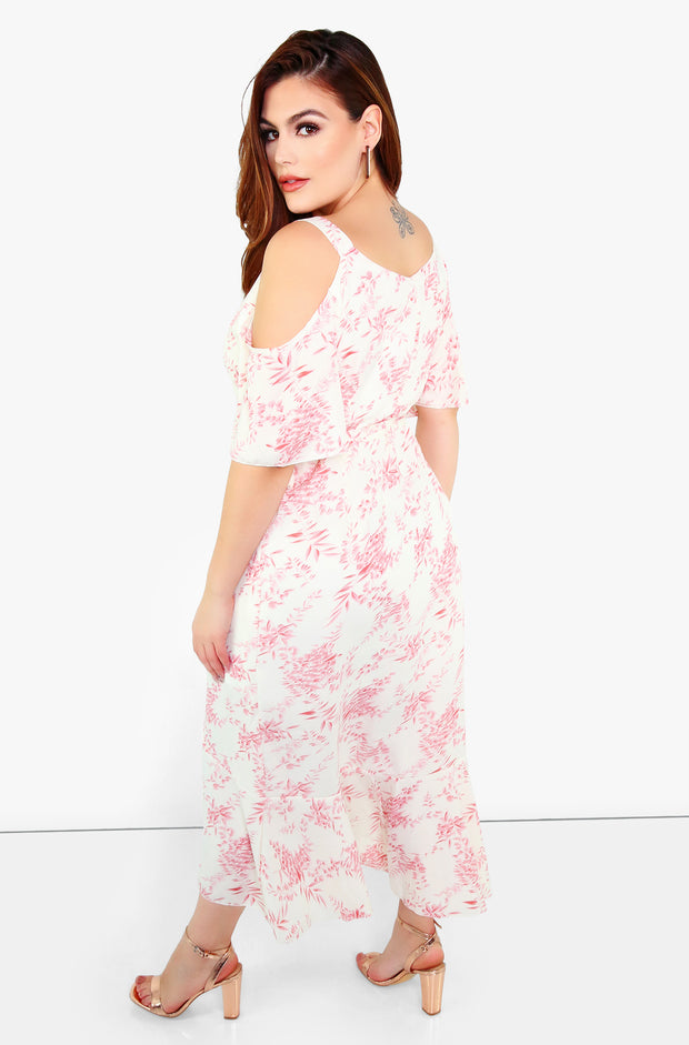 Pink Wrap Midi Dress Plus Sizes