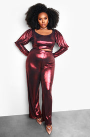 Maroon Plus SizePuff Sleeve Metallic Top