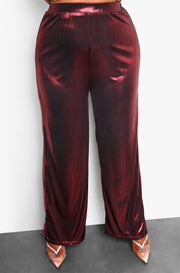 Maroon Plus Size High Waisted Metallic Pants
