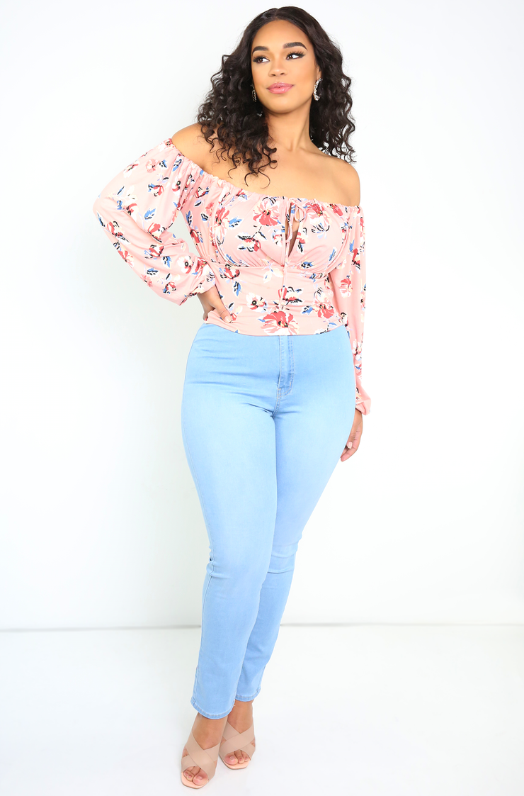 Blush Over The Shoulder Floral Top Plus Sizes