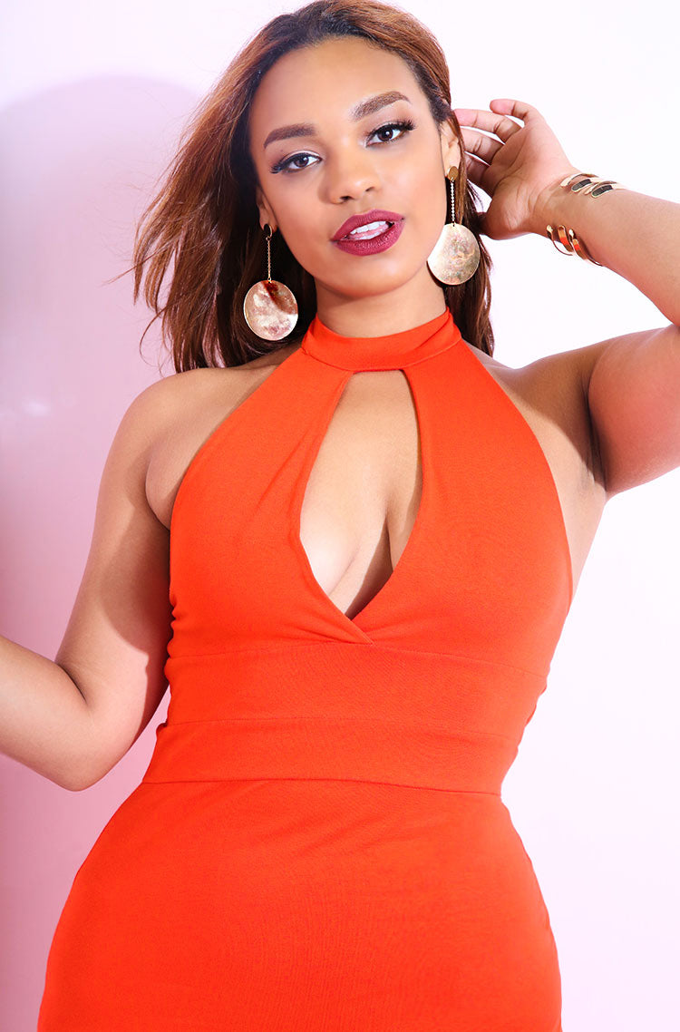 Orange Keyhole Bodycon Mini Dress plus sizes