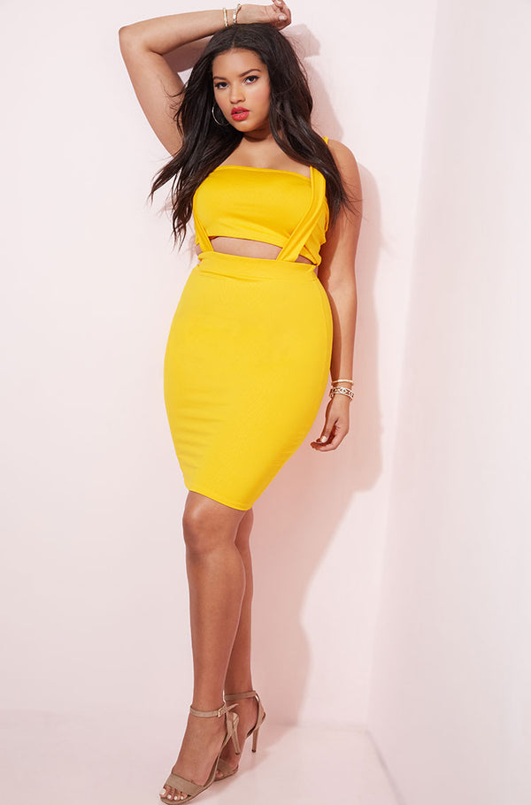 Yellow Overall Style Bodycon Mini Skirt Set plus sizes
