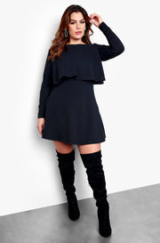 Black Plus Size Long Sleeve Open Back Skater Mini Dress