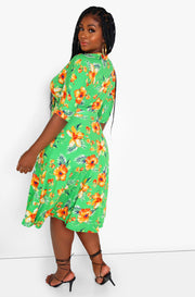 Green Front Tie Skater Midi Dress Plus Size
