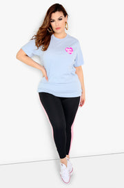 Baby Blue Graphic Crew Neck T-Shirt Plus Size
