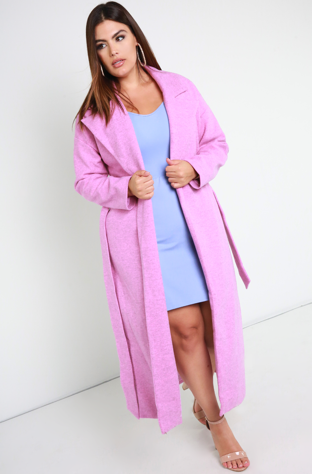 Bubblebum Pink Belted Blazer Wool Coat Plus Sizes