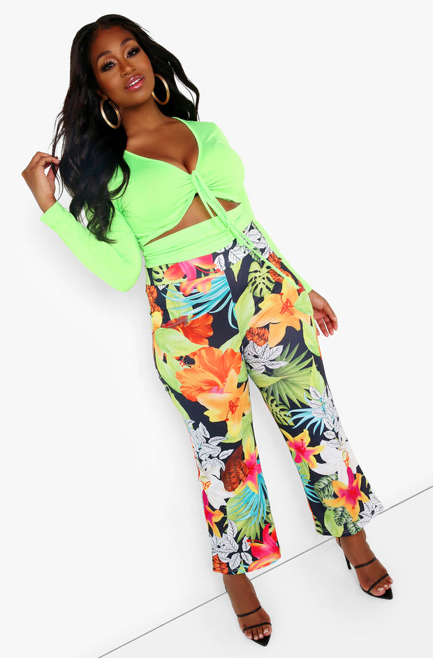 Neon Green Cut-Out Crop Top Plus Sizes