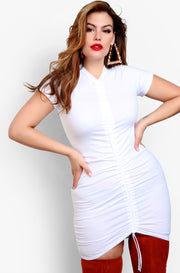 White Plus Sizes Ruched Bodycon Mini Dress