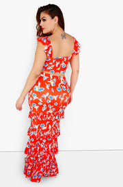 Red Front Slit Ruffle Maxi Skirt Plus Sizes