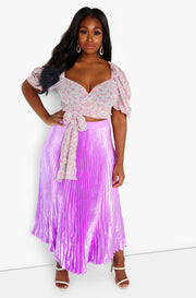 Lilac Puff Sleeve Sheer Wrap Around Crop Top Plus Sizes