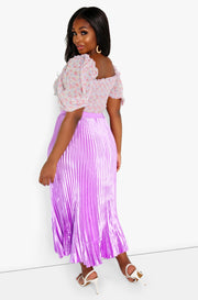 Lilac Pleated Satin Maxi Skirt Plus Sizes