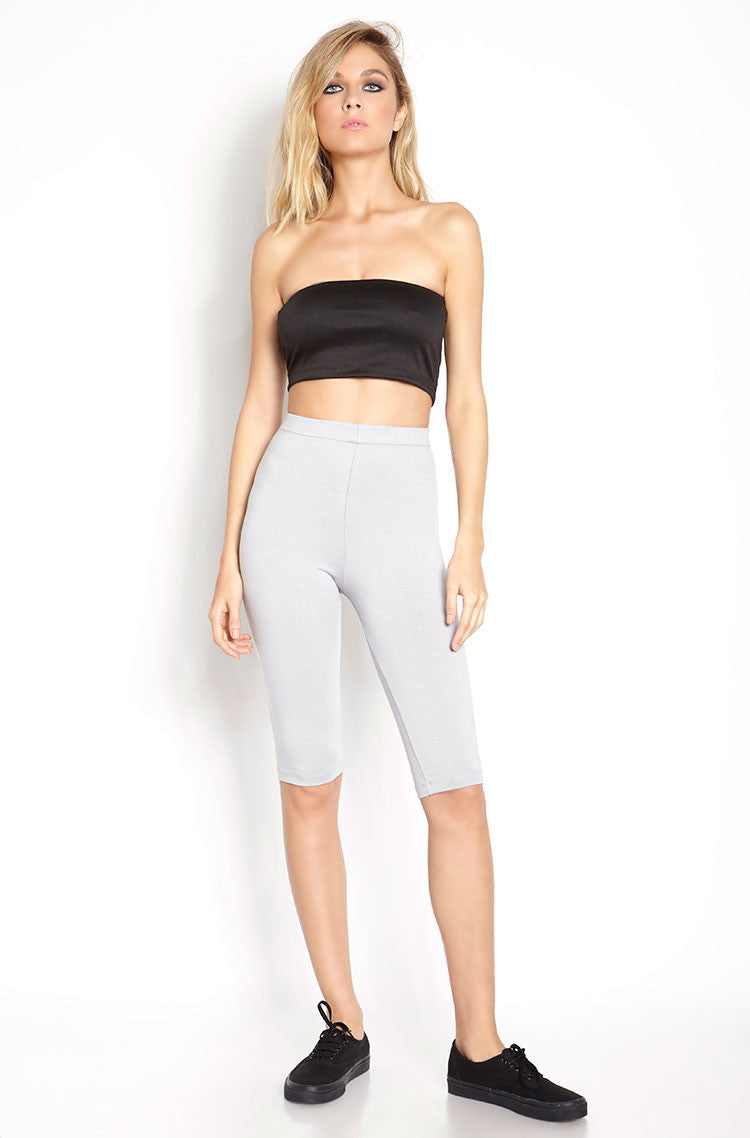 Gray Essential High Waist Bermuda Length Leggings Plus Sizes