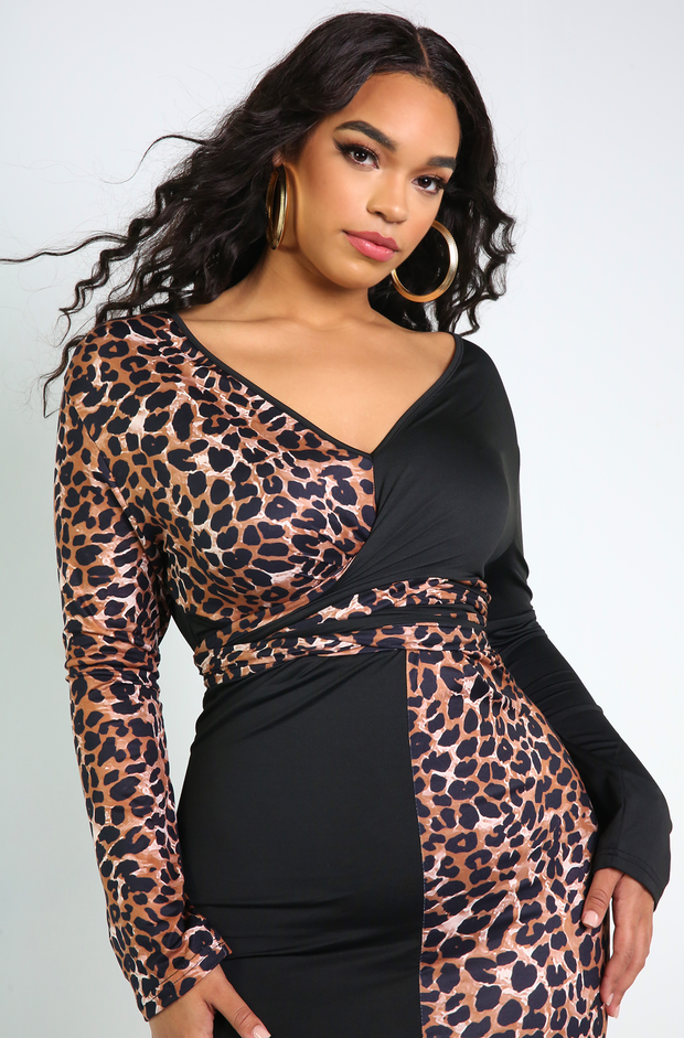 Black Leopard Print Bodycon Maxi Dress Plus Sizes