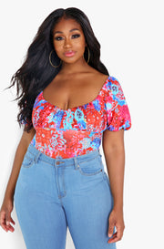 Red Peasant Top Bodysuit Plus Sizes