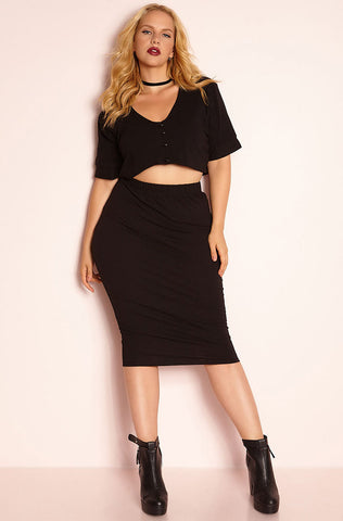 "Rebdolls ""Ego"" V-Neck Crop Top & Pleated Pant Set"
