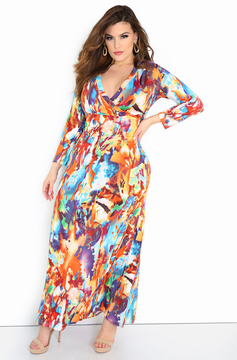Burnt Orange Plunge Neckline Maxi Dress Plus Sizes