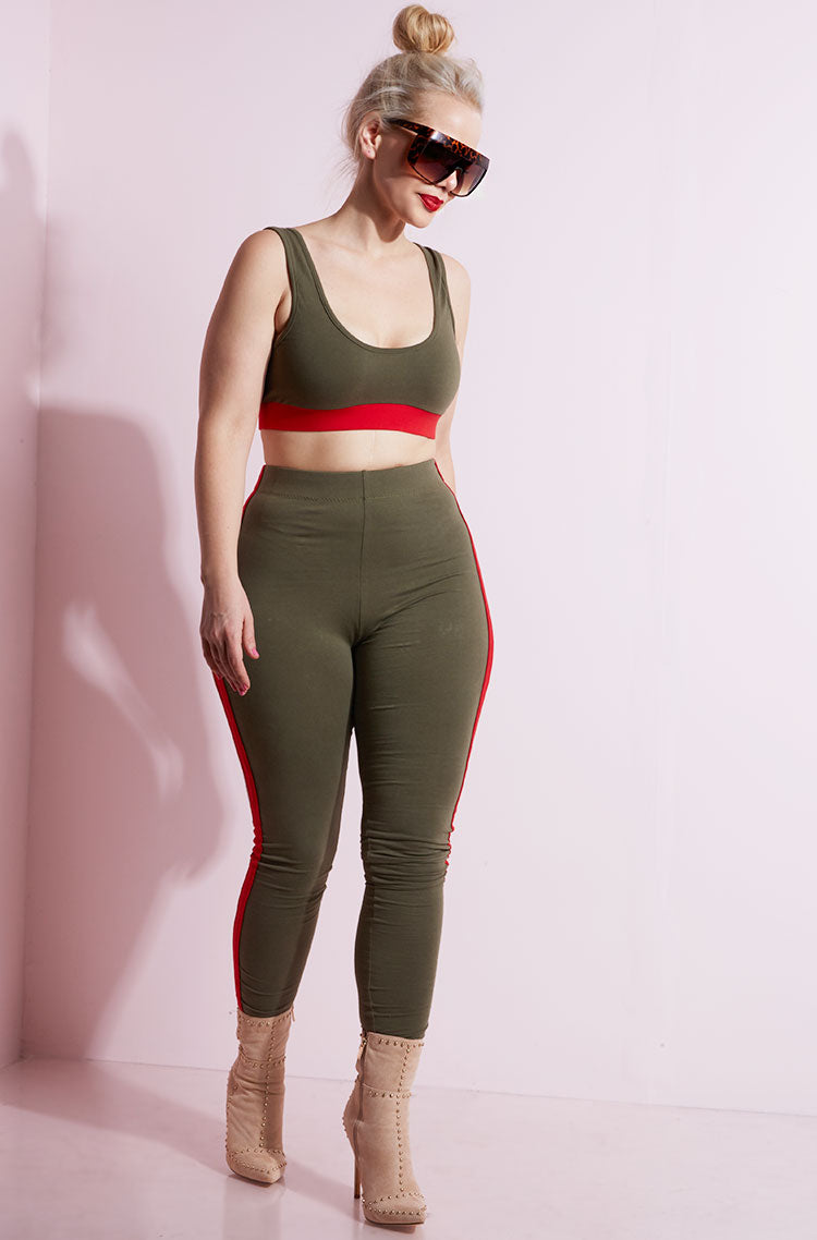 Olive Tank Crop Top plus sizes