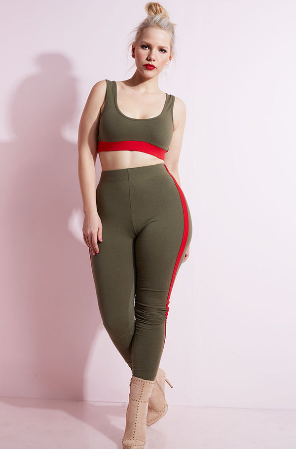Olive Striped Leggings plus sizes