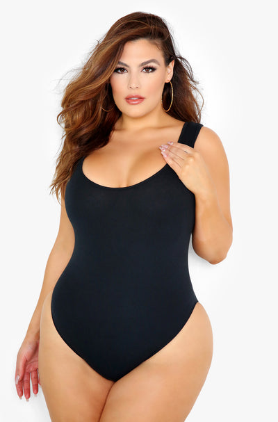 Black Cotton Bodysuit Plus Size