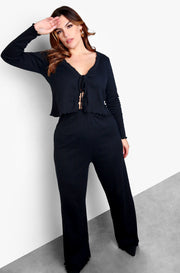 Black V-Neck Midi Dress & Cardigan Set Plus Sizes