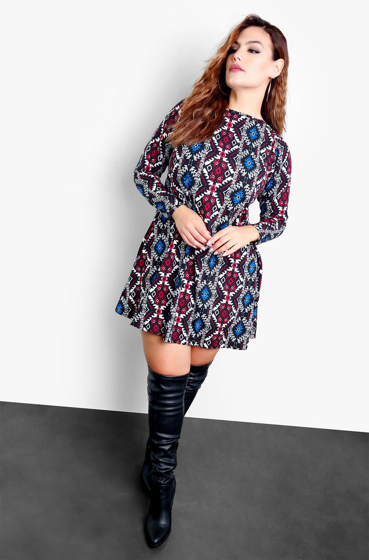 Blue Aztec Plus Size Long Sleeve Skater Mini Dress