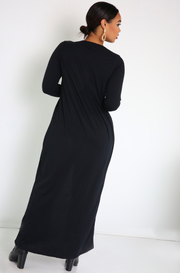 Black Front Slit Maxi Top Plus Sizes