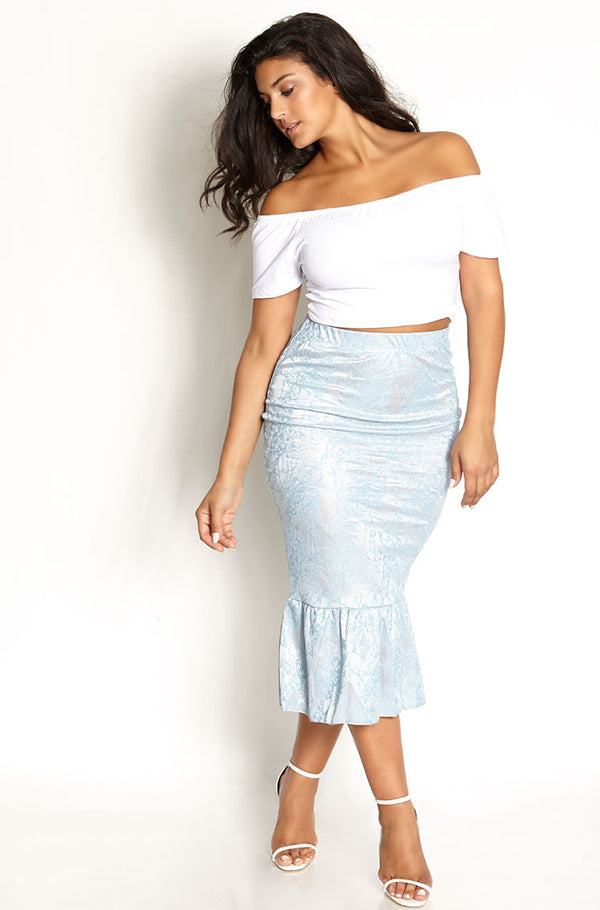 White Over The Shoulder Crop Top plus sizes