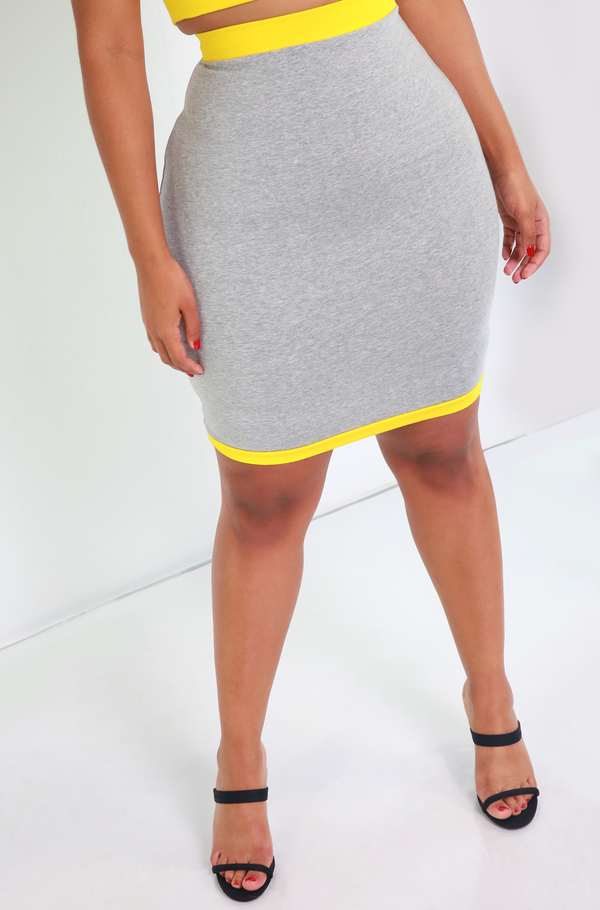 Gray Two Tone Mini Skirt Plus Sizes
