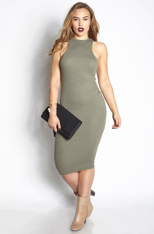 Rebdolls Ribbed Sleeveless Crew Neck Midi Dress - Gray