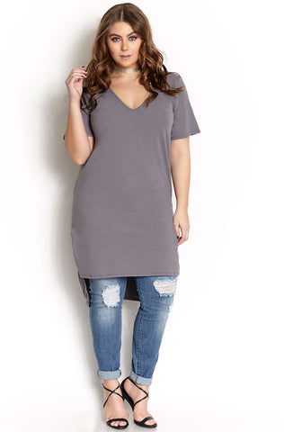 "Rebdolls ""Higher Calling"" Ribbed High Slit Tee"