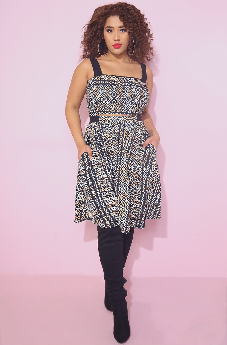 Aztec Two Tone Skater Mini Set With pockets Plus sizes