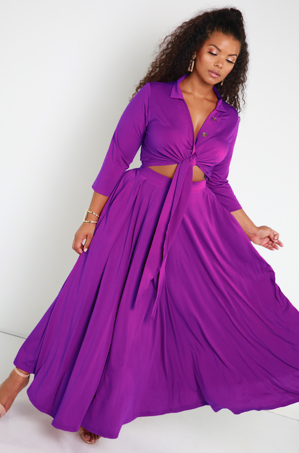 Purple Pleated Maxi Skirt With Pockets Plus Sizes